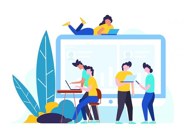Vector flat illustration social networking.