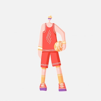 Vector flat illustration of sportsman in sport red orange uniform, standing with basketball ball, isolated on white background.