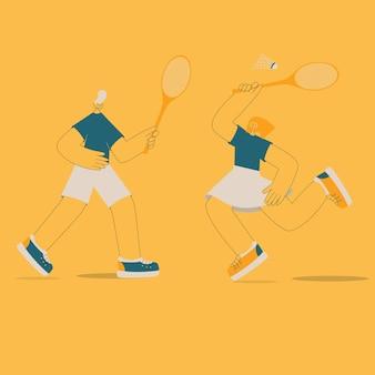 Vector flat illustration. stay active. boy and girl playing banbenton.