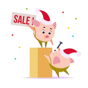 Vector flat illustration of two funny little pig elf in santa hat hanging sale tab isolated on white background. perfect for sale banner, web, packaging holiday design etc.