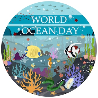 Vector flat illustration of the underwater world the world ocean day on june 8 protection of nature