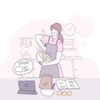 부엌에서 요리하는 여자와 벡터 평면 그림