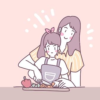 キッチンで料理をする女の子とベクトルフラットイラスト