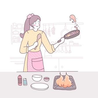 Vector piatta illustrazione con una ragazza che cucina in cucina