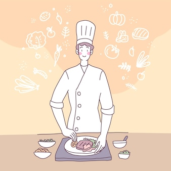 Vector flat illustration with a man who cooks in the kitchen