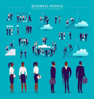 人々のオフィスの文字を分離したベクトルフラットイラストビジネス状況の概念