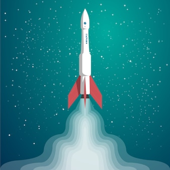 Vector flat illustration with rocket launch on space with stars.