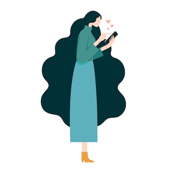 Vector flat illustration, woman chatting love message on mobile phone side view