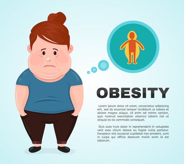 Vector flat illustration young woman character with a obesity infographic icon.