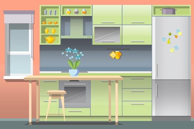 ベクトルフラットキッチンインテリアダイニングルームのデザイン。