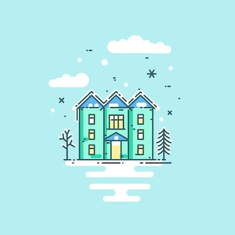 Vector flat line illustration with house, trees, clouds and snow.