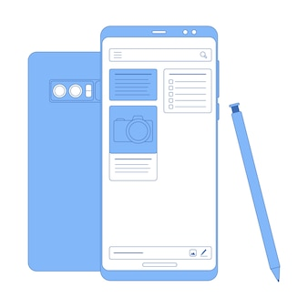 Vector flat linear illustration in blue colors notes app