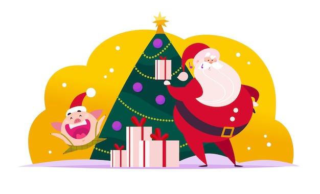 装飾された新年のモミの木でサンタクロースかわいい豚のエルフのベクトルフラットメリークリスマスイラスト