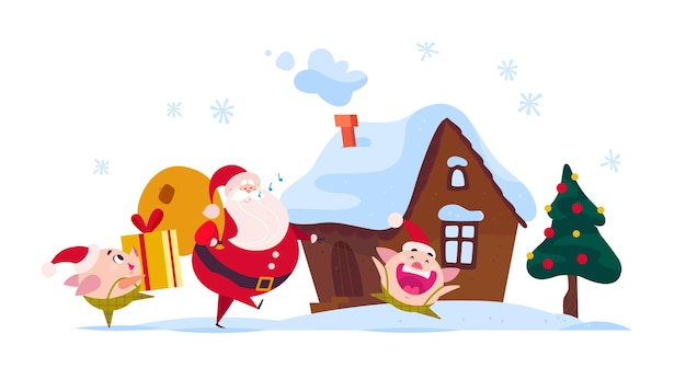 ギフトバッグ、かわいい豚エルフキャリーギフトボックス、生姜の家、白い背景で隔離の装飾された新年のモミの木とサンタクロースのベクトルフラットメリークリスマスイラスト。 webバナー、広告。