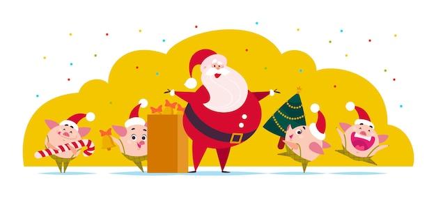 ベクトルフラットメリークリスマスイラストサンタクロースかわいい豚のエルフと装飾された新年のモミの木