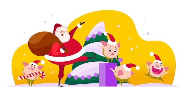 ギフトバッグ、かわいい豚のエルフが新年のモミの木を飾る、白い背景で隔離のクリスマスの休日を祝うサンタクロースとベクトルフラットメリークリスマスイラスト。 webバナー、広告、カード。