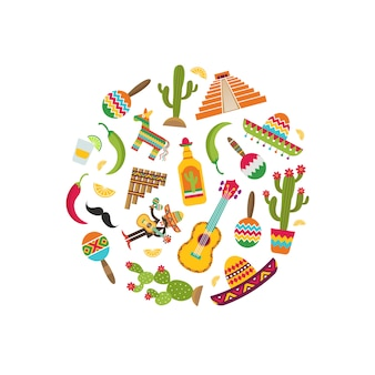 Vector flat mexico attributes in circle shape illustration