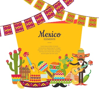 Vector flat mexico attributes below frame with place for text and garlands illustration