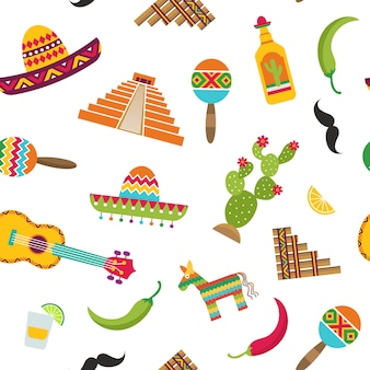 Vector flat mexico attributes seamless pattern