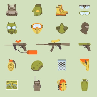 Vector flat paintball or airsoft icon set
