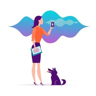ベクトルフラットパーソナルオンラインアシスタントイラスト。スマートフォンのマイクのダイナミックアイコン、音波を持つオフィスの女の子。 ui、ux、モバイルアプリ、音声認識ランディングページデザインのwebサイトコンセプト。