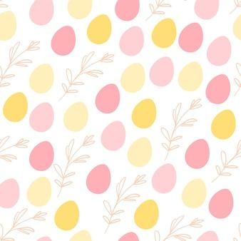 Вектор плоский бесшовный фон с пасхальными рисованными декоративными элементами - яйцом и цветочной ветвью - изолирован на белом фоне. подходит для открыток, приглашений, дизайна упаковки, детской, принтов и т. д.