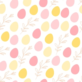 Vector flat seamless background with easter hand drawn decorative elements- egg and floral branch - isolated on white background. good for cards, invitations, packaging design, nursery, prints etc.