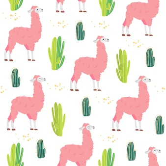 흰색 배경에 격리된 귀여운 손으로 그린 사막 라마 동물과 선인장이 있는 벡터 평평한 매끄러운 패턴입니다. 포장지, 카드, 월페이퍼, 선물 태그, 지문, 보육 장식 등에 좋습니다.