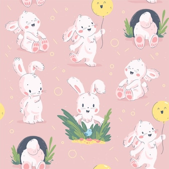 Vector flat seamless pattern with easter little baby bunny character and balloon isolated