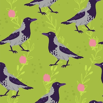 Vector flat seamless pattern with hand drawn crow birds and floral wild nature elements isolated on green background. good for packaging paper, cards, wallpapers, gift tags, nursery decor etc.
