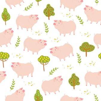 손으로 그린 귀여운 농장 국내 돼지 동물, 흰색 배경에 격리된 나무 식물 요소가 있는 벡터 플랫 매끄러운 패턴입니다. 포장지, 카드, 벽지, 선물 태그, 보육 장식 등