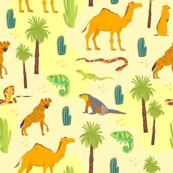 Вектор плоский бесшовные модели с рисованной пустынных животных, рептилий, кактусов, пальм, изолированных на желтом фоне. подходит для упаковки бумаги, открыток, обоев, подарочных бирок, декора для детской комнаты и т. д.