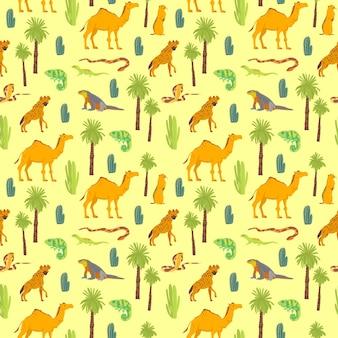 노란색 배경에 격리된 손으로 그린 사막 동물, 파충류, 선인장, 야자수와 함께 벡터 평평한 매끄러운 패턴입니다. 포장지, 카드, 벽지, 선물 태그, 보육 장식 등에 좋습니다.