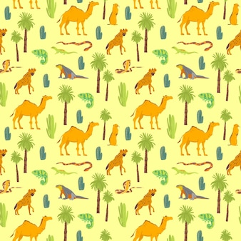 Vector flat seamless pattern with hand drawn desert animals, reptiles, cactus, palm trees isolated on yellow background. good for packaging paper, cards, wallpapers, gift tags, nursery decor etc.