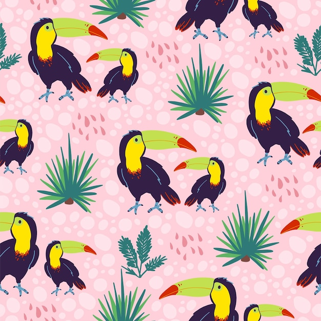Vector flat seamless pattern with hand drawn exotic tropical toucan birds and floral wild nature elements isolated on pink background. good for packaging paper, cards, wallpapers, gift tags, decor etc