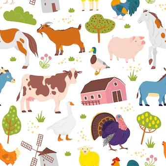 手描きの農場家畜、木、鳥、白い背景で隔離の家とベクトルフラットシームレスパターン。紙、カード、壁紙、ギフトタグ、保育園の装飾などの包装に適しています。