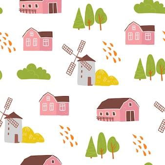 손으로 그린 농장 국내 건물, 집, 밀, 흰색 배경에 고립 된 나무와 벡터 평면 완벽 한 패턴입니다. 포장지, 카드, 벽지, 선물 태그, 보육 장식 등에 좋습니다.