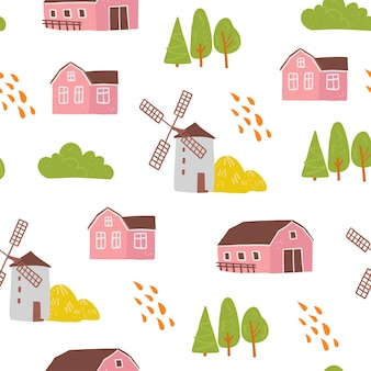 Vector flat seamless pattern with hand drawn farm domestic building, house, mill, trees isolated on white background. good for packaging paper, cards, wallpapers, gift tags, nursery decor etc.