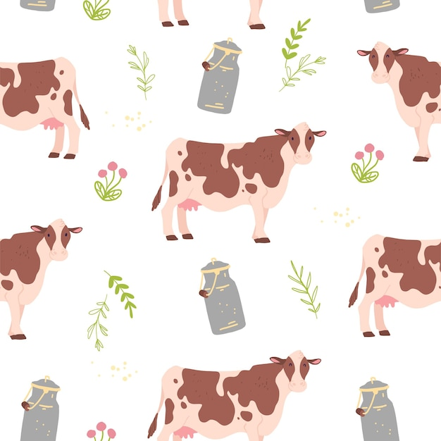 손으로 그린 농장 가축, 꽃무늬 요소, 우유가 있는 벡터 플랫 매끄러운 패턴은 흰색 배경에 격리될 수 있습니다. 포장지, 카드, 월페이퍼, 선물 태그, 어린이집 장식용으로 좋습니다.
