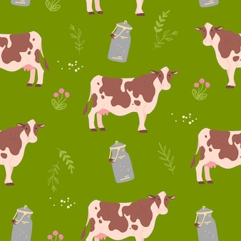 Vector flat seamless pattern with hand drawn farm domestic cow animals, floral elements and milk can isolated on green background. good for packaging paper, cards, wallpapers, gift tags, nursery decor