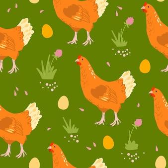 手描きの農場国産鶏鳥、卵、緑の背景に分離された花とフラットシームレスパターンをベクトルします。紙、カード、壁紙、ギフトタグ、保育園の装飾などの包装に適しています。