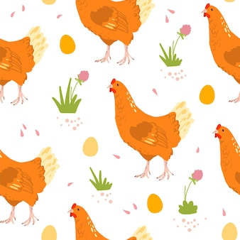 手描きの農場国産鶏の鳥、卵、花が白い背景で隔離のベクトルフラットシームレスパターン。紙、カード、壁紙、ギフトタグ、保育園の装飾などの包装に適しています。