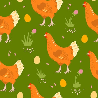 Vector flat seamless pattern with hand drawn farm domestic hen birds, eggs and flowers isolated on green background. good for packaging paper, cards, wallpapers, gift tags, nursery decor etc.