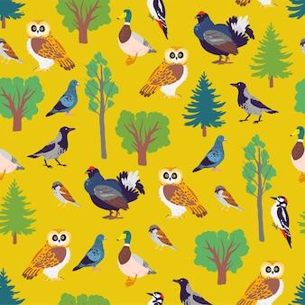 노란색 배경에 격리된 손으로 그린 숲 새와 꽃 야생 자연 나무 요소가 있는 벡터 플랫 매끄러운 패턴입니다. 포장지, 카드, 벽지, 선물 태그, 보육 장식 등