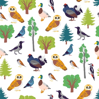 Vector flat seamless pattern with hand drawn forest birds and floral wild nature trees elements isolated on white background. good for packaging paper, cards, wallpapers, gift tags, nursery decor etc.