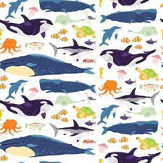 손으로 그린 해양 동물, 물고기, 흰색 배경에 격리된 양서류가 있는 벡터 플랫 매끄러운 패턴입니다. 포장지, 카드, 벽지, 선물 태그, 보육 장식 등에 좋습니다.