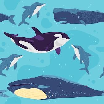 손으로 그린 해양 동물, 고래, 돌고래, 흰색 배경에 분리된 물이 있는 벡터 플랫 매끄러운 패턴입니다. 포장지, 카드, 벽지, 선물 태그, 보육 장식 등에 좋습니다.