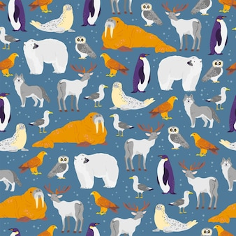 Vector flat seamless pattern with hand drawn north animals, fish, birds isolated on blue background. polar bear, owl, arctic fox. for packaging paper, cards, wallpapers, gift tags, nursery decor etc.
