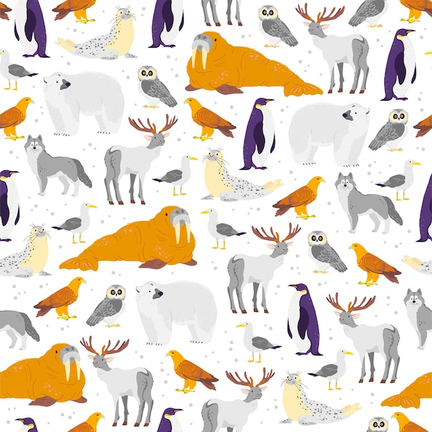 Vector flat seamless pattern with hand drawn north animals, fish, birds isolated on white background. polar bear, owl, arctic fox. for packaging paper, cards, wallpapers, gift tags, nursery decor etc.