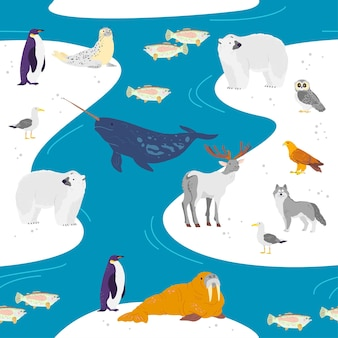 Vector flat seamless pattern with hand drawn north animals, fish, birds, water isolated on winter landscape. good for packaging paper, cards, wallpapers, gift tags, nursery decor etc.
